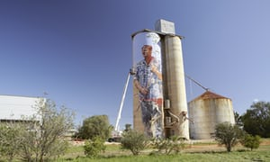 Painted mural on a silo on the Silo Art Trail, at Patchewollock, Australia.