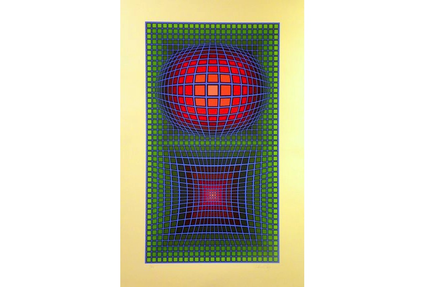Victor Vasarely - Composition In Green, Red And Violet, 1980