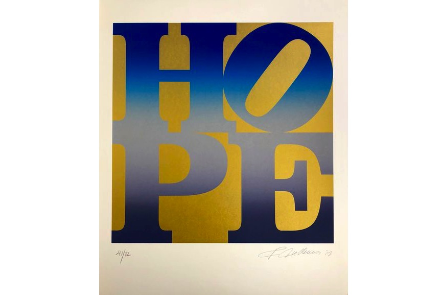 Robert Indiana - Four Seasons of Hope, Gold Portfolio (Winter, Spring, Summer, Autumn), 2012