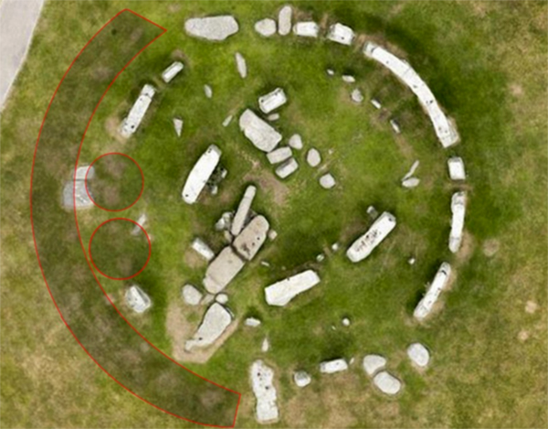 An aerial view of Stonehenge showing the dry patches where stones completing the circle once stood. Photo: SWSN.com/English Heritage.