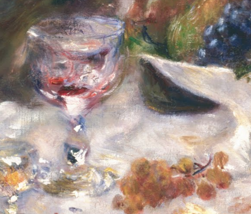 Detail of Renoir's The Luncheon of the Boating Party, showing a glass and grapes on the table.