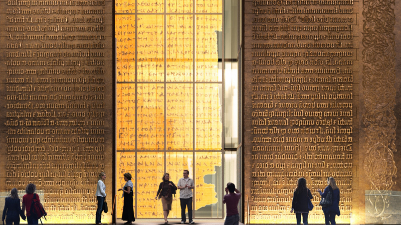 The bronze doors marking the grand entrance of the Museum of the Bible. Image courtesy Museum of the Bible.