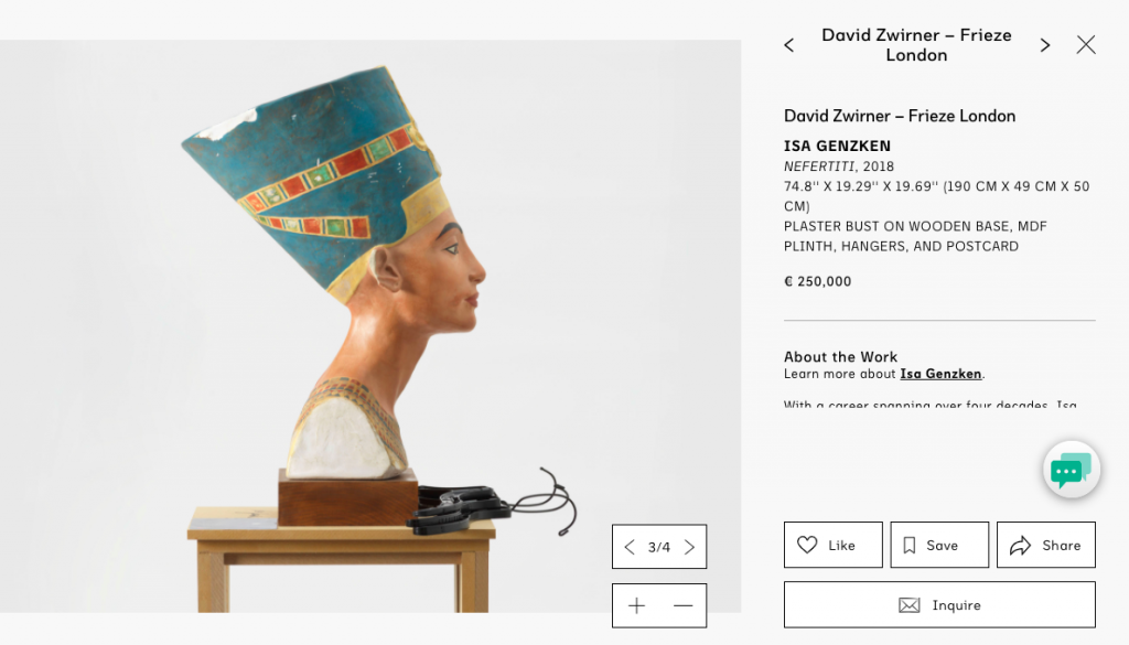 David Zwirner's Viewing Room as part of Frieze London 2020. Courtesy Frieze.