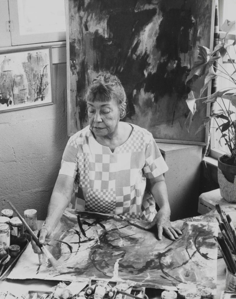 Alma Thomas working in her studio, ca. 1968 / Ida Jervis, photographer. Alma Thomas papers, circa 1894-2001. Archives of American Art, Smithsonian Institution.