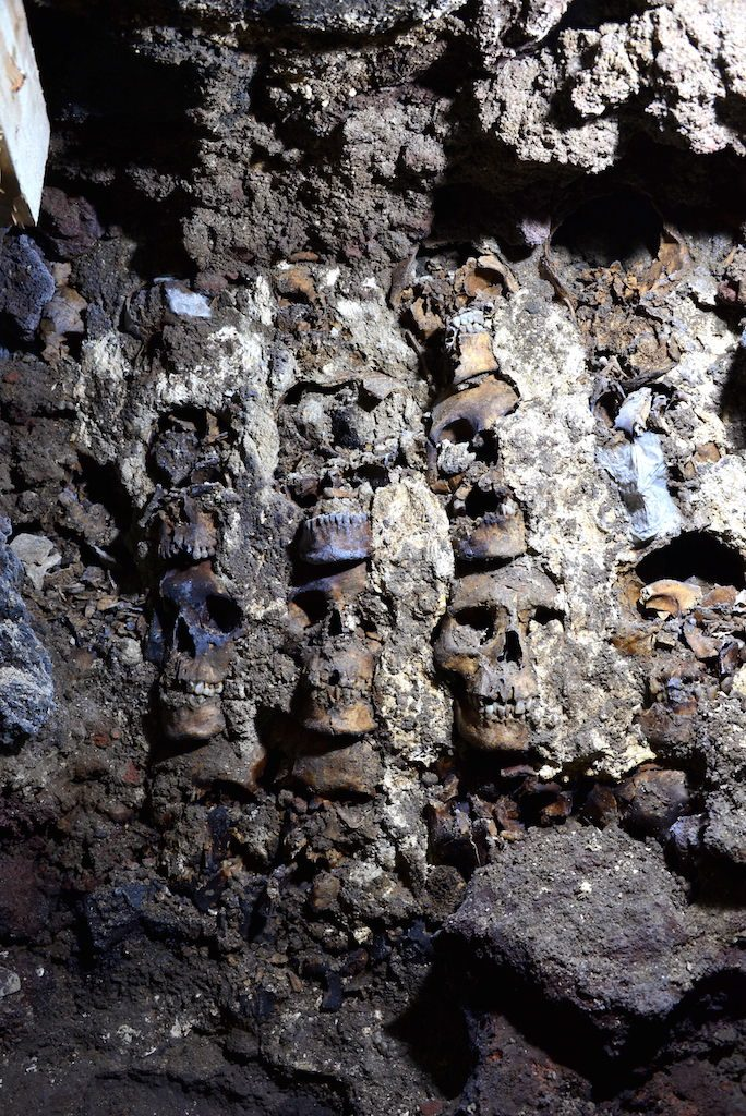 """The Huey Tzompantli, a """"tower of skulls"""" erected by the Aztec in Tenochtitlán. Photo courtesy of Mexico's National Institute of Anthropology and History (INAH)."""