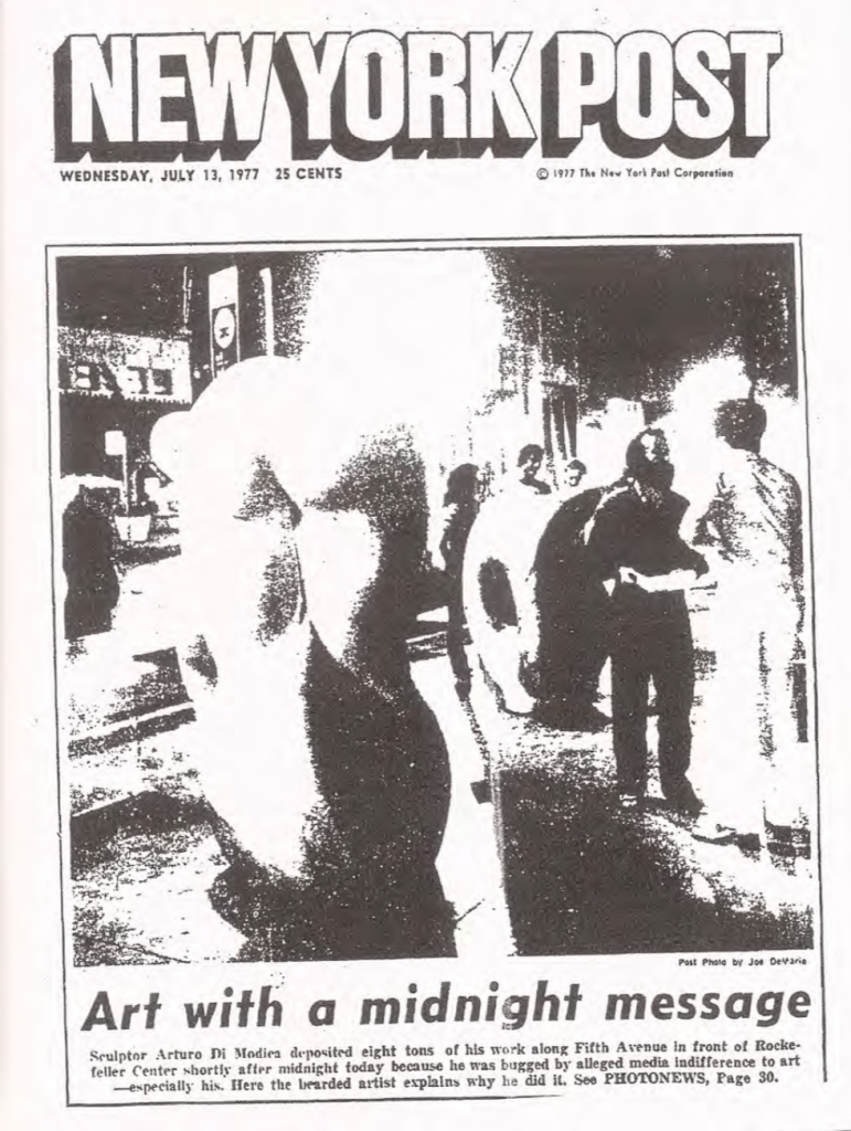 July 13th 1977, front page of the New York Post reporting Arturo Di Modica's unauthorized installation at Rockefeller Center.