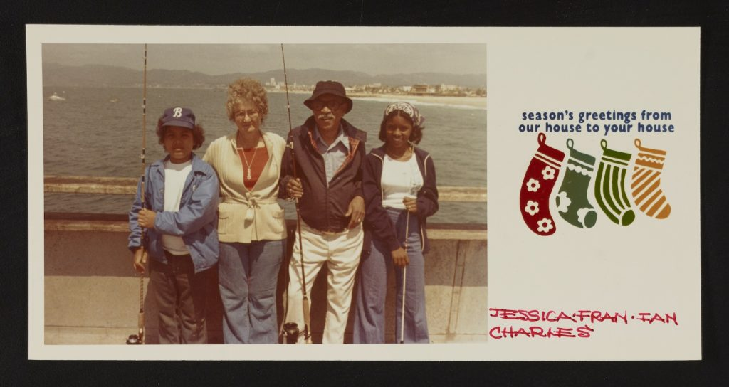 Holiday card from Charles White and family, circa 1974. Photographer unknown. Charles W. Whitepapers, 1933–1987.Courtesy of the Archives of American Art, Smithsonian Institution.