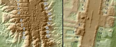 A LiDAR image of the sites of San Lorenzo (left) and Aguada Fénix (right) with similar long rectangular platforms surrounded by 20 smaller platforms. Image courtesy of Juan Carlos Fernandez-Diaz and Takeshi Inomata.
